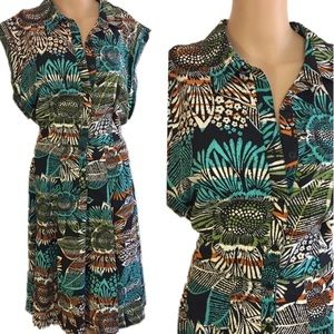 East 5th tropical floral belted midi dress size 14